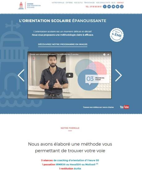 Choisir son orientation scolaire WordPress integration HTML-CSS Mahii Conception